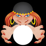 Fortune teller. Vector illustration Fortune teller with glass ball Royalty Free Stock Photography