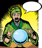 Fortune teller. Looking into globe.  Globe and guru are on separate layers, and can be removed Royalty Free Stock Images