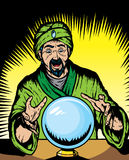 Fortune teller. Looking into globe.  Globe and guru are on separate layers, and can be removed Stock Photos