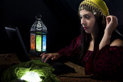 Fortune Teller with Astrology Website Stock Photo
