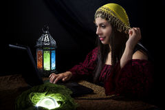 Fortune Teller with Astrology Website Royalty Free Stock Photo