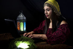 Fortune Teller with Astrology Website Stock Photos