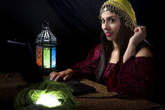 Fortune Teller with Astrology Website Royalty Free Stock Photography