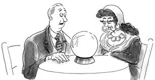 Fortune Teller. B&W business illustration showing a businessman trying to gain clarity from a fortune teller and crystal ball Stock Images