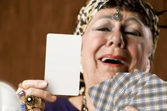 Fortune Teller with Blank Tarot Card Stock Photo