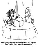 Fortune Teller. Cartoon about a fortune teller predicting the future Royalty Free Stock Photos