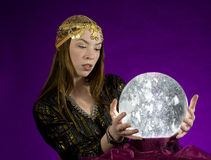 Fortune Teller With Crystal Ball Stock Image - Image of omen