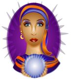 Fortune Teller Crystal Ball 2. A psychic woman with a crystal ball on a purple background royalty free illustration