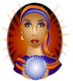 Fortune Teller Crystal Ball. A psychic woman with a crystal ball on a red background Royalty Free Stock Photos