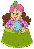 Fortune teller with crystal ball vector illustration