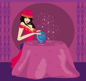Fortune-teller with Crystal Ball. Illustration Royalty Free Stock Images