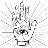 Fortune Teller Hand with Palmistry diagram, handdrawn all seeing. Fortune Teller Hand with Palmistry diagram, hand-drawn all seeing eye. Vector vintage Royalty Free Stock Photos