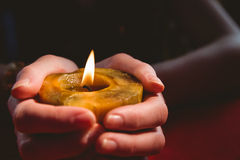 Fortune teller holding a candle Royalty Free Stock Photography