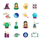 Fortune Teller Icon Flat. Fortune teller magician and paranormal symbols icon flat set isolated vector illustration Royalty Free Stock Photo