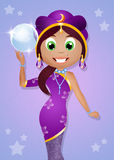 Fortune-teller. Illustration of clairvoyant with crystal ball Royalty Free Stock Image