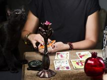 The fortune teller lays out on a wooden table the tarot cards by the light of a lantern and a candle. Black cat sitting near the t. Able stock photos