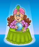 Fortune teller in limelight. Color illustration Royalty Free Stock Photos