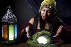 Fortune Teller Looking at Crystal Ball Royalty Free Stock Photo