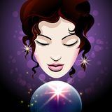 Fortune teller looks into a crystal ball. Pretty Girl looks into a crystal ball. Magic of Fortune telling concept. Vector illustration Royalty Free Stock Photo