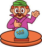 Fortune Teller with Magic Crystal Ball Cartoon Stock Photo