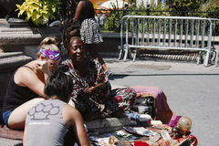 Fortune teller in New York. New York, United States - 2 September 2016 - Fortune teller with people in the street Royalty Free Stock Photo