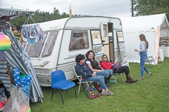 Fortune teller`s caravan. At Grantown on Spey Show on 10th August 2017 with women waiting outside royalty free stock images