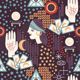 Fortune Teller Seamless Pattern. A fun and colorful fortune teller themed seamless pattern with tarot cards, palmistry, moons, stars, gypsy fortune tellers Stock Photography