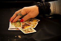 Fortune Teller. With Tarot Cards Royalty Free Stock Photos
