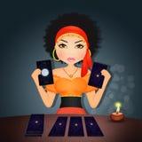 Fortune teller with tarot stock illustration
