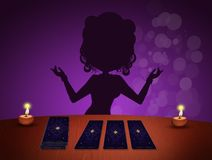 Fortune teller with tarots Royalty Free Stock Images
