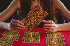Fortune teller using tarot cards Stock Images