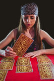 Fortune teller using tarot cards Royalty Free Stock Image