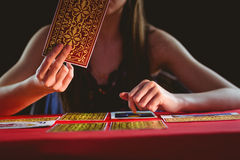 Fortune teller using tarot cards Royalty Free Stock Photo