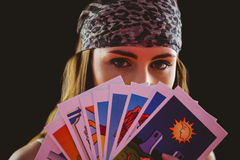 Fortune teller using tarot cards Royalty Free Stock Images