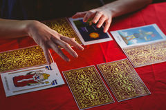 Fortune teller using tarot cards Stock Photography