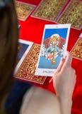 Fortune teller using tarot cards Royalty Free Stock Photos