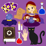 Fortune Teller Vector Collection. Fortune teller character and items vector collection Royalty Free Stock Image