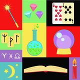Fortune teller vector set. Magic collection with runes, crystal, spell book, stars and other symbols of witches, magic and wizardry vector illustration