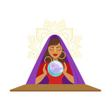 Fortune teller watching crystal ball, occult ritual vector Illustration Royalty Free Stock Photography