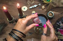 Magic potion. Fortune teller. Witch prepares a magic potion or love charm Royalty Free Stock Image