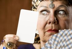 Fortune Teller With Blank Tarot Card Stock Photography