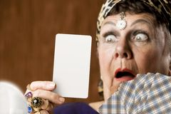 Fortune Teller With Blank Tarot Card Royalty Free Stock Images