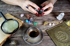 Fortune teller woman predicting future from cards Royalty Free Stock Image