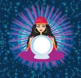 Fortune teller woman reading future on magical crystal ball. Vector Illustration stock illustration