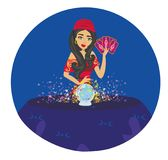 Fortune teller woman reading future on magical crystal ball Royalty Free Stock Photo