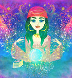 Fortune teller woman reading future on magical crystal ball Royalty Free Stock Images