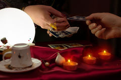Fortune teller woman use tarot card. For future reading Stock Photo