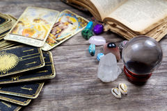 Fortune-telling. Tools on wooden table Stock Photo