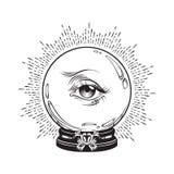 Fortune tirée par la main indiquant la boule de cristal magique avec l'oeil de la providence Chic desig d'impression de voile de  illustration stock