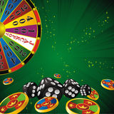 Fortune wheel. Casino Fortune wheel with chips and dice strip green background Stock Photos